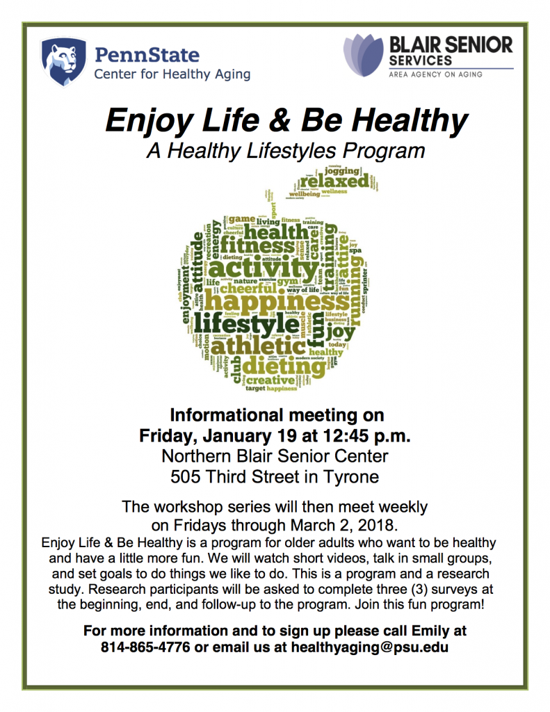 Enjoy Life & Be Healthy Informational Meeting @ Northern Blair Senior Center