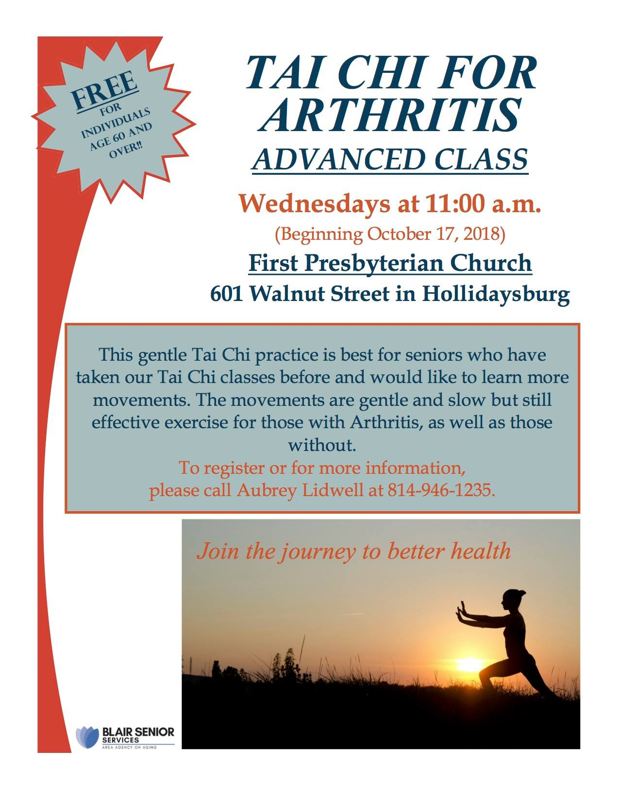 Tai Chi for Arthritis (Advanced Class) @ First Presbyterian Church