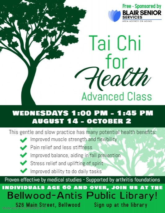Tai Chi for Health: Advanced Class @ Bellwood-Antis Public Library