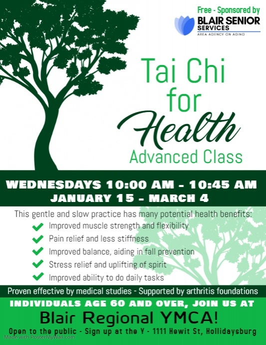 Tai Chi for Health: Advanced Class @ Blair Regional YMCA