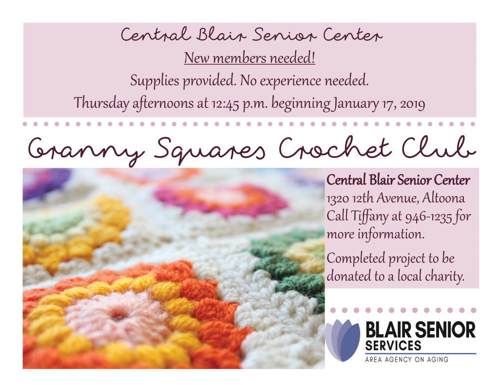 Granny Squares Crochet Club @ Central Blair Senior Center