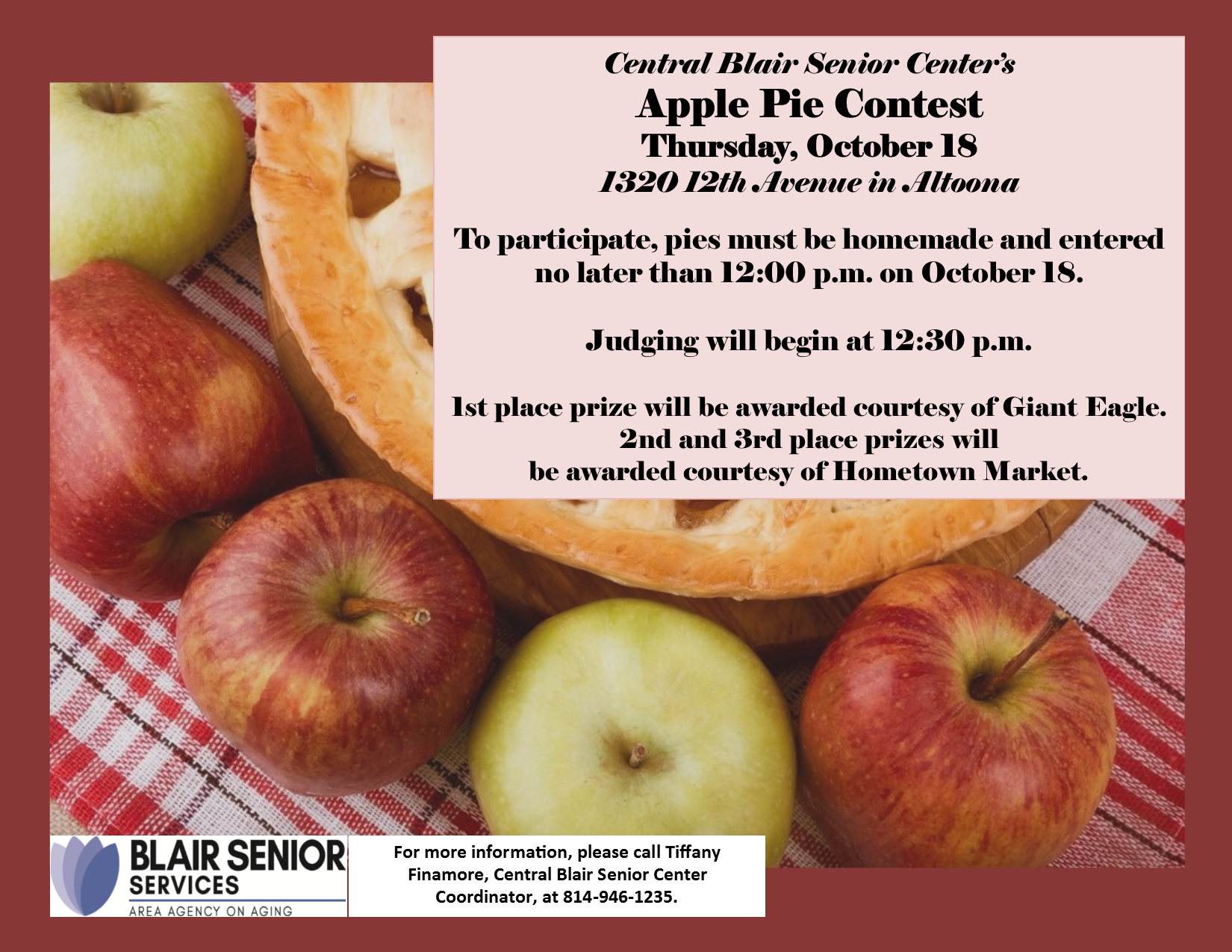 Apple Pie Contest @ Central Blair Senior Center