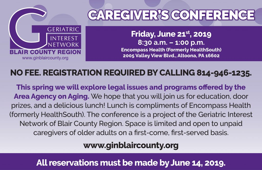 GIN Caregiver's Conference @ Encompass Health (Formerly Health South)