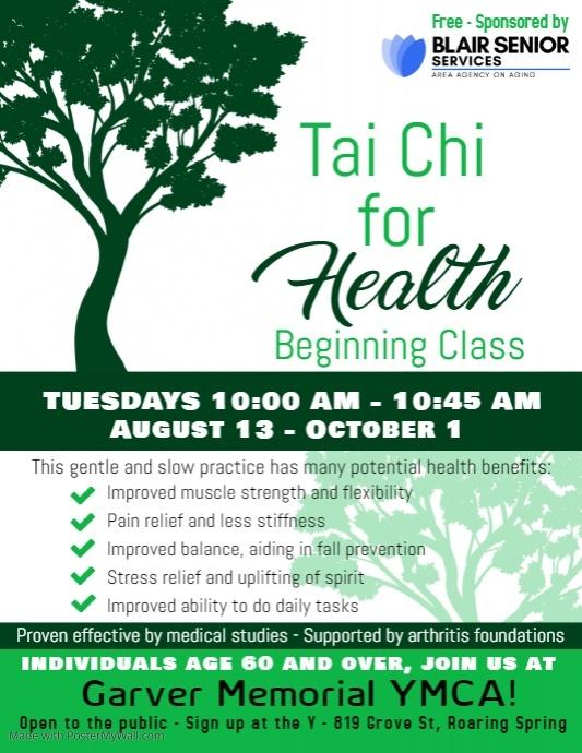 Tai Chi for Health: Beginning Class @ Garver Memorial YMCA