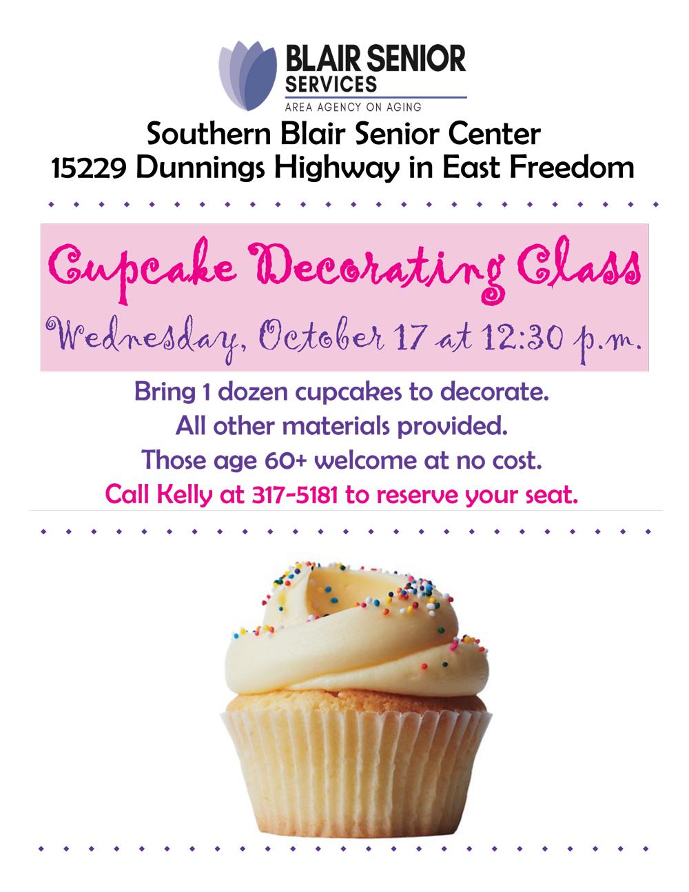 Cupcake Decorating with Theo @ Southern Blair Senior Center
